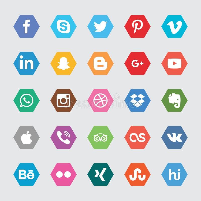 Iconos sociales del hexágono medios fotografía de archivo libre de regalías