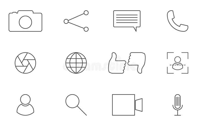 Iconos sociales del iniciado del app de los medios ilustración del vector