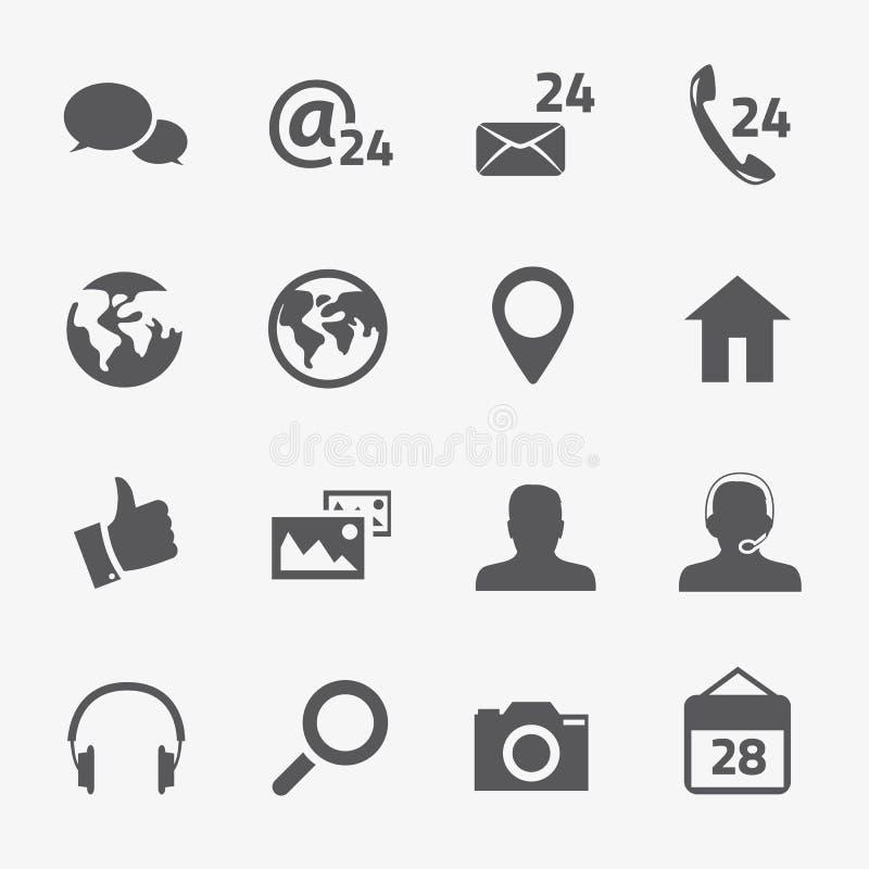 Iconos sociales del vector de los medios y de la conexión fijados stock de ilustración