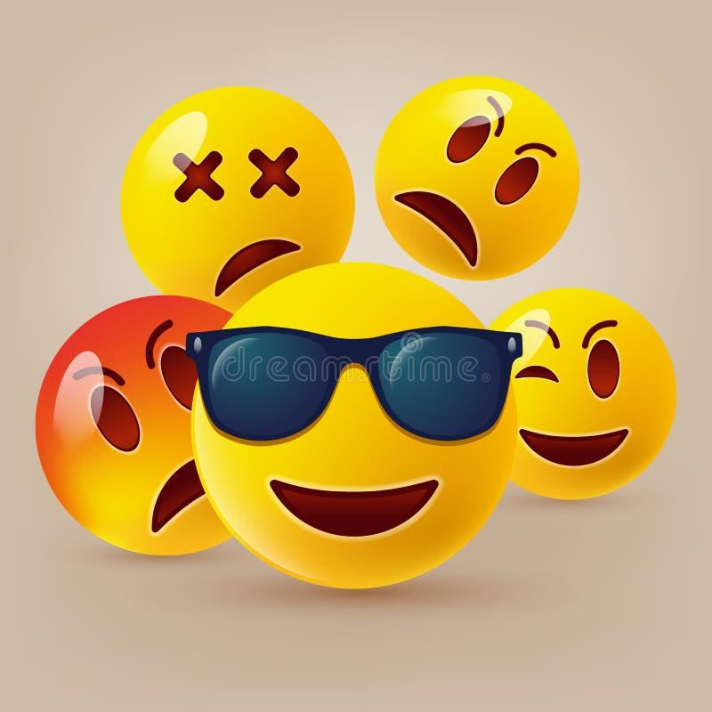 Iconos sonrientes de la cara o emoticons amarillos con las caras divertidas emocionales en 3D brillante realista fotos de archivo