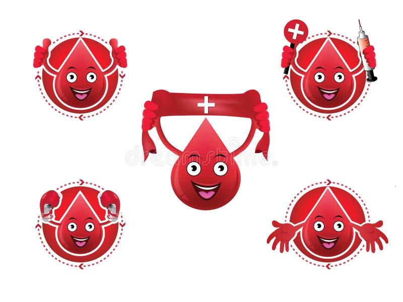 Iconos sonrientes de la sangre de la historieta fijados stock de ilustración