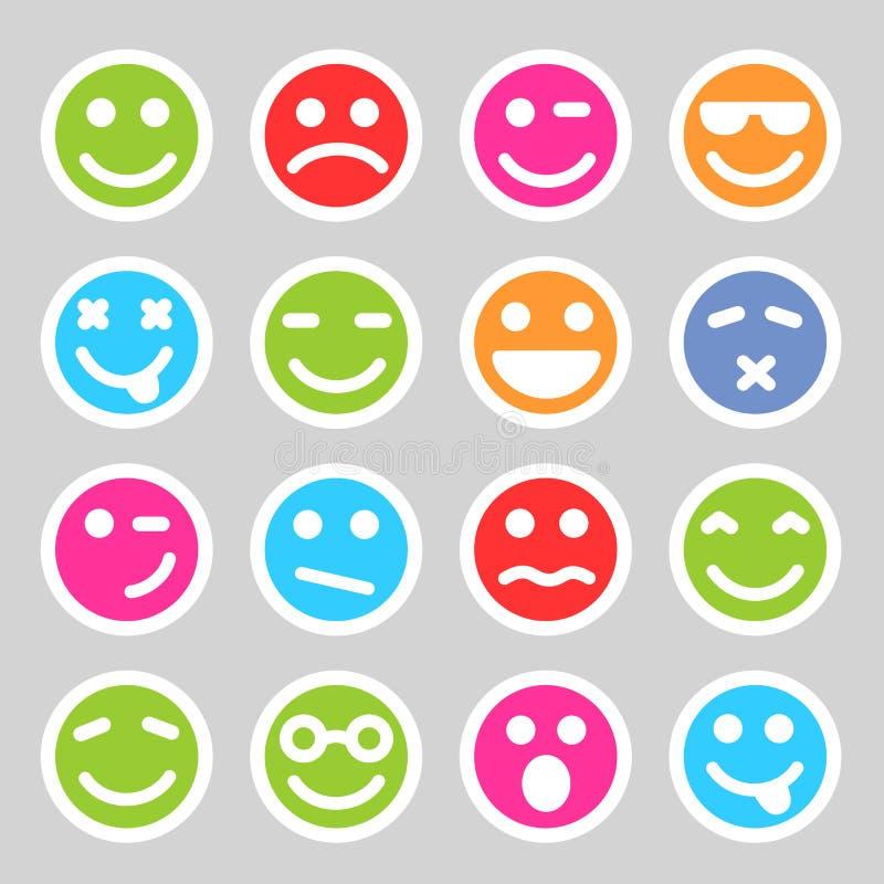 Iconos sonrientes planos ilustración del vector