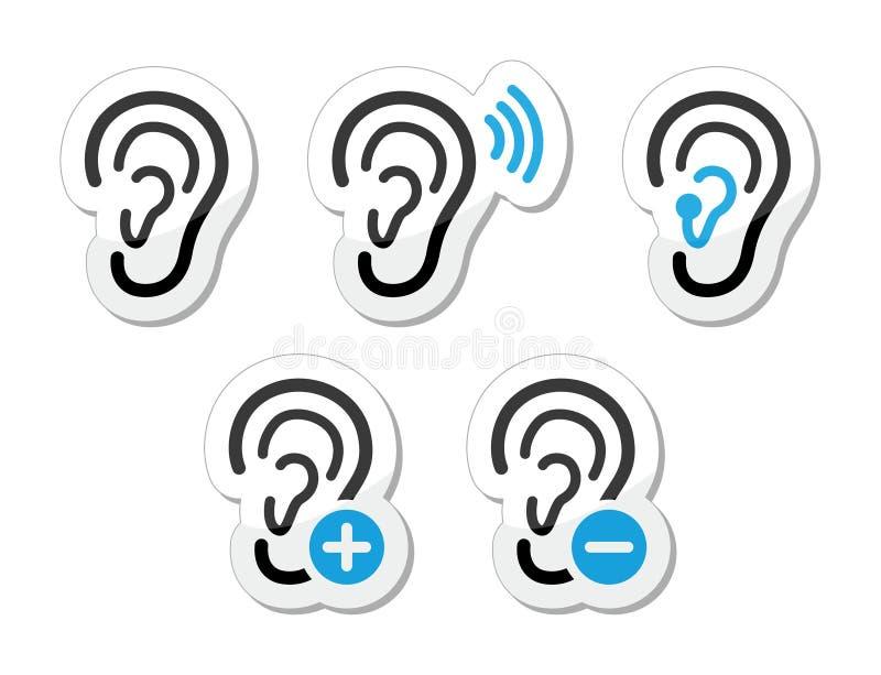 Iconos sordos del problema de la prótesis de oído del oído fijados como escrituras de la etiqueta libre illustration
