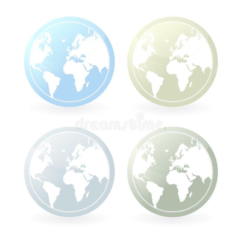Iconos suavemente coloreados de la correspondencia de mundo ilustración del vector