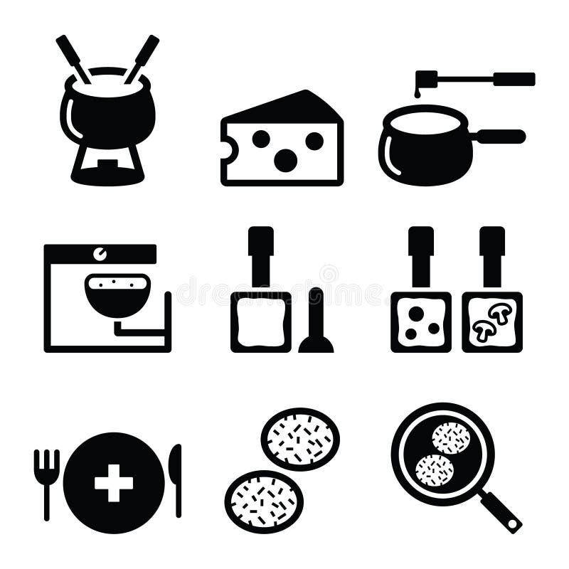 Iconos suizos de la comida y de los platos - 'fondue', raclette, rösti, queso libre illustration