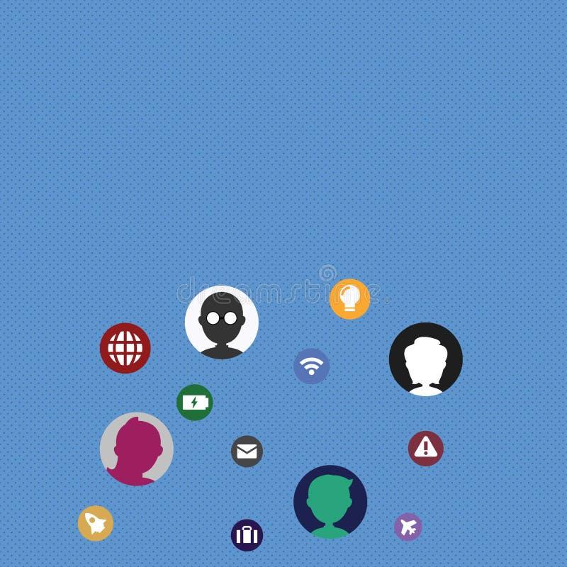 Iconos técnicos del establecimiento de una red con las cabezas de la charla dispersadas en la pantalla para una mejor comunicació ilustración del vector