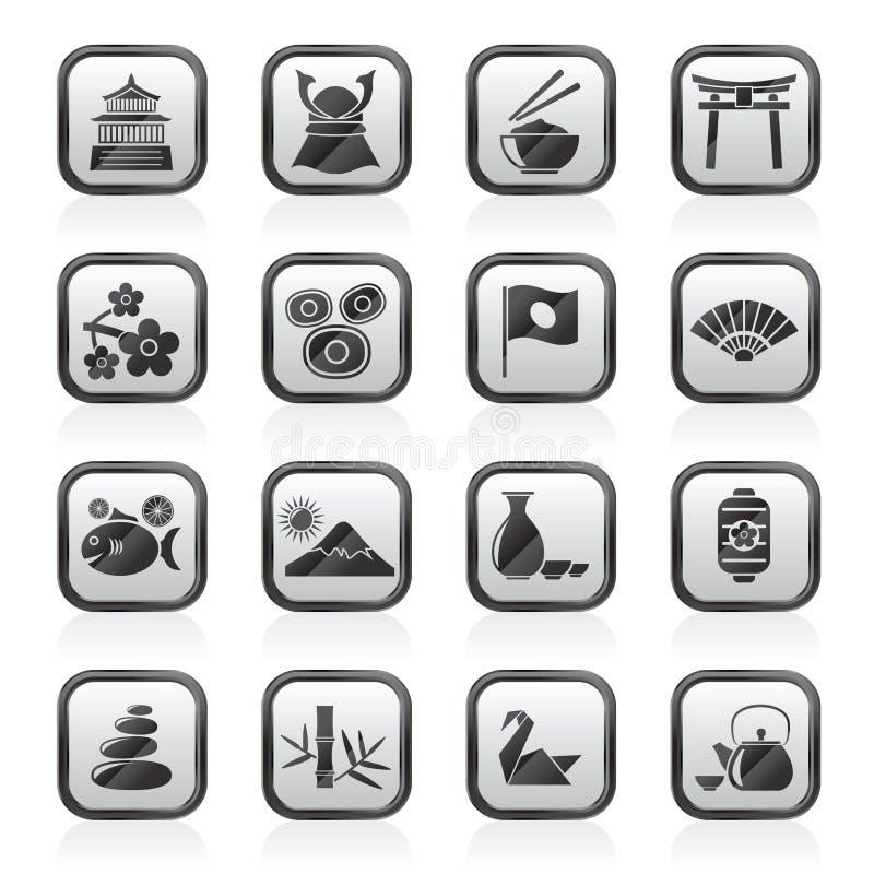 Iconos típicos de la cultura de Japón ilustración del vector