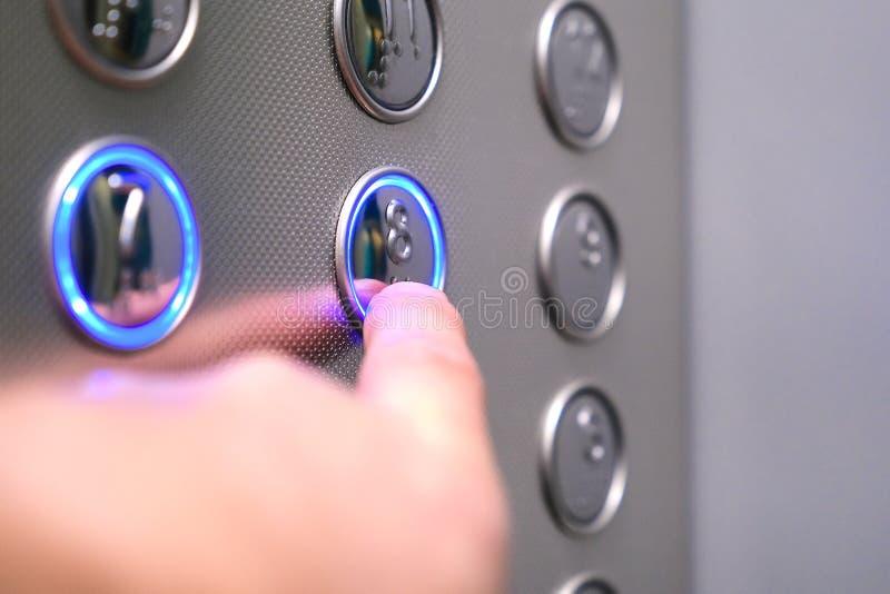 Iconos t?ctiles del d?gito para la persona con deficiencias visuales Botones del elevador Sonido de la notificación de la voz par fotos de archivo