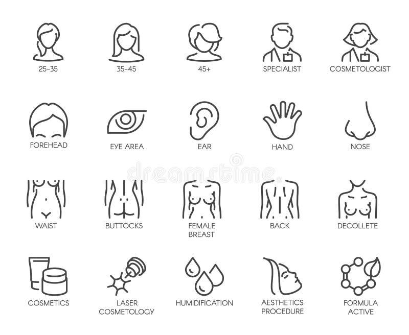 Iconos temáticos aislados Avatar de las mujeres de diversas edades, del doctor, de piezas faciales, de la figura femenina y de lo stock de ilustración