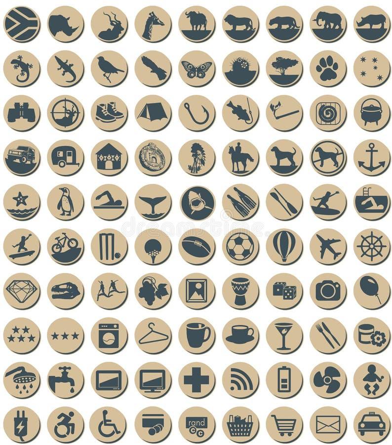 Iconos temáticos surafricanos circulares ilustración del vector