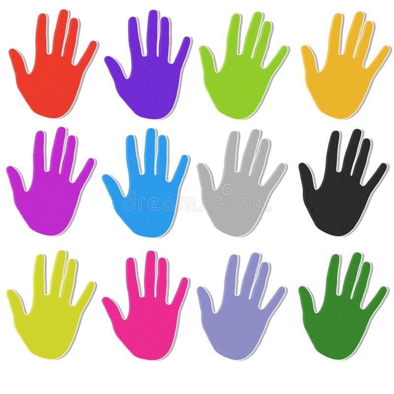 Iconos Textured coloridos de la mano ilustración del vector