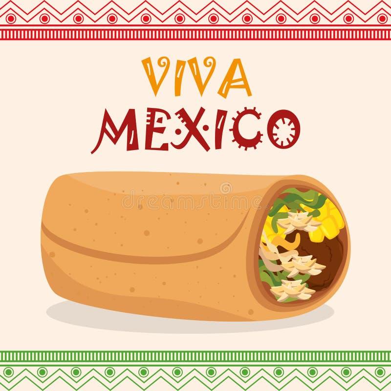 Iconos tradicionales mexicanos del Burrito ilustración del vector