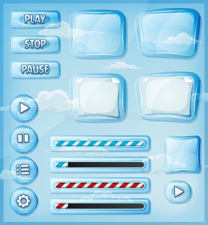 Iconos transparentes de cristal fijados para el juego de Ui ilustración del vector