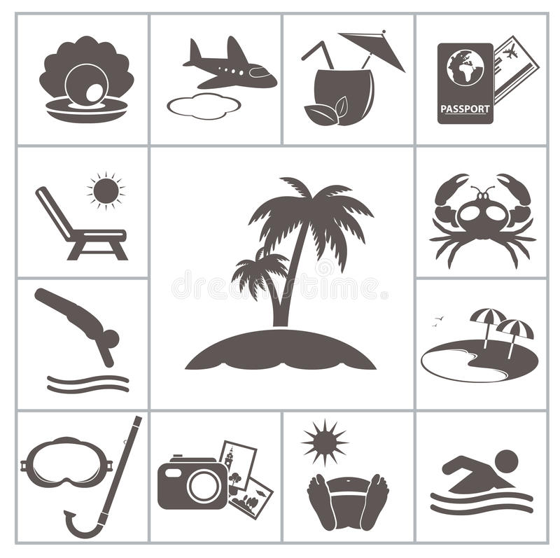 Iconos tropicales del centro turístico libre illustration
