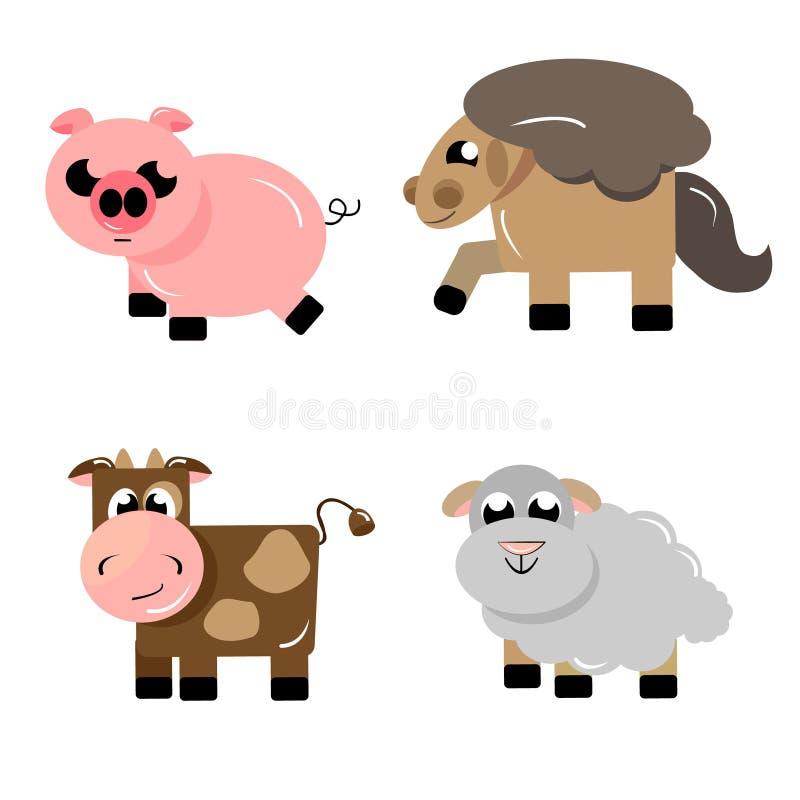 Iconos ungulados de los animales de la granja fotografía de archivo