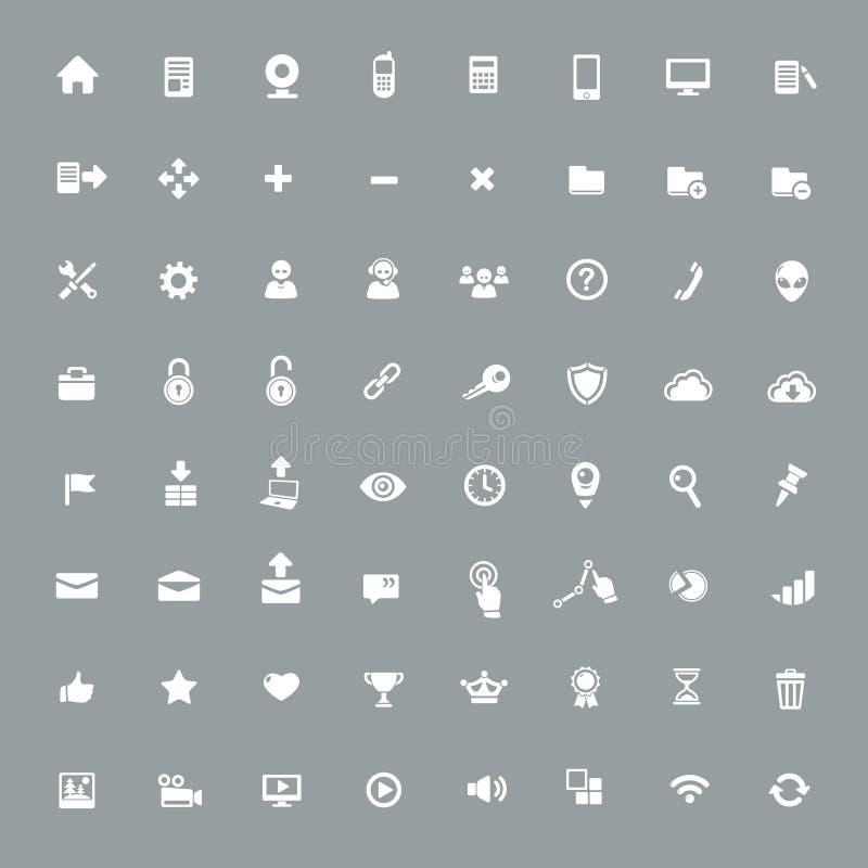 Iconos universales del app fijados stock de ilustración