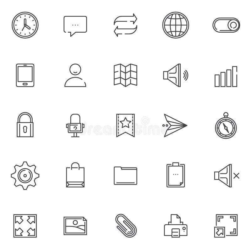 Iconos universales del esquema del esencial fijados stock de ilustración