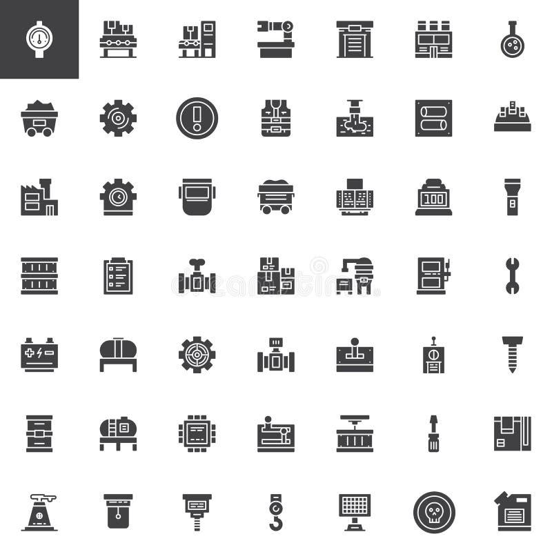 Iconos universales del vector de la fábrica fijados ilustración del vector