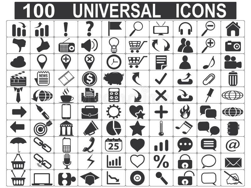 100 iconos universales del Web fijados stock de ilustración