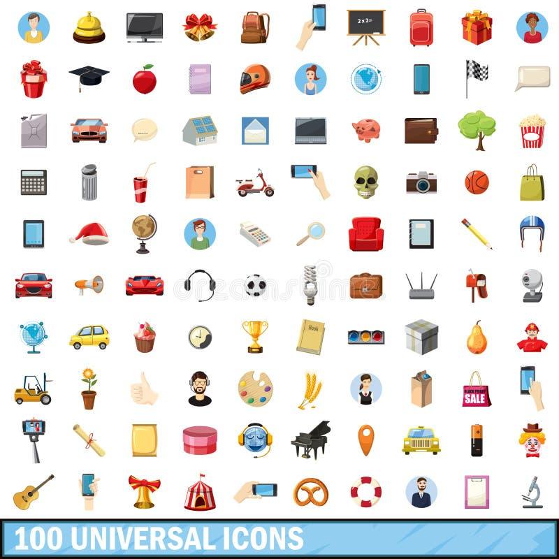 100 iconos universales fijados, estilo de la historieta stock de ilustración