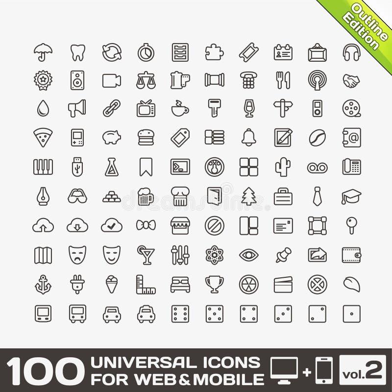 100 iconos universales para el Web y el volumen móvil 2 ilustración del vector