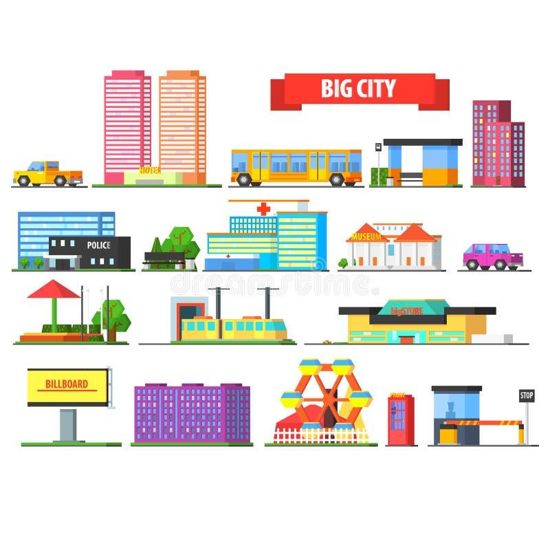 Iconos urbanos de la ciudad grande fijados ilustración del vector