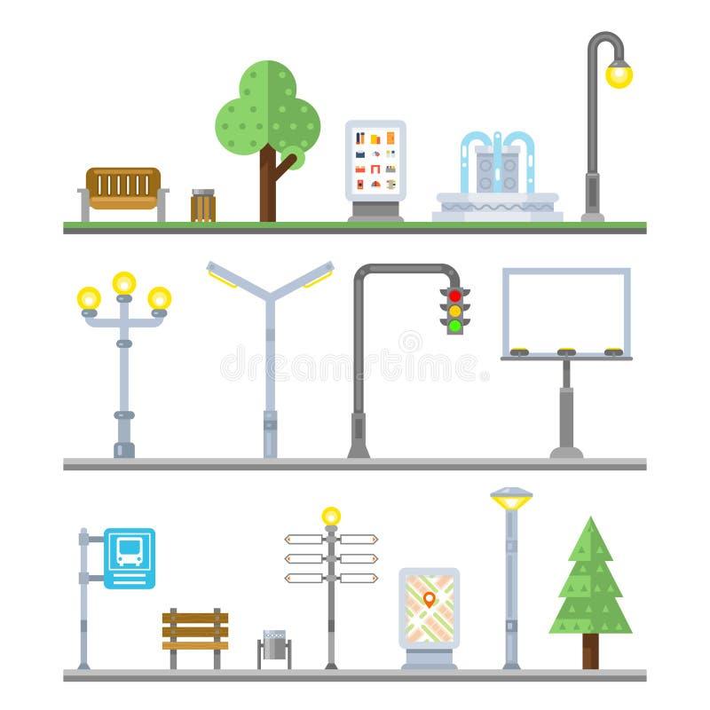 Iconos urbanos del paisaje Linternas de los semáforos, banco y elementos de la calle de la fuente libre illustration