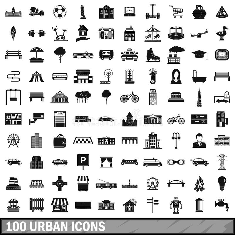 100 iconos urbanos fijados, estilo simple libre illustration