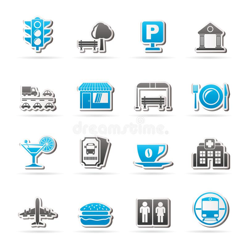 Iconos urbanos y de la ciudad de los elementos stock de ilustración