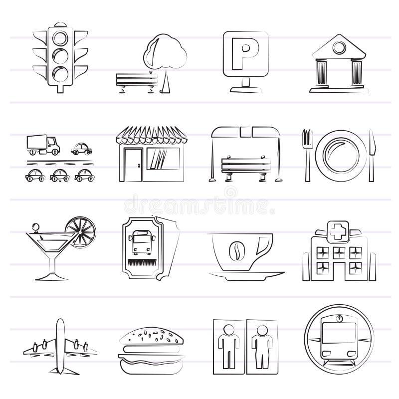 Iconos urbanos y de la ciudad de los elementos ilustración del vector