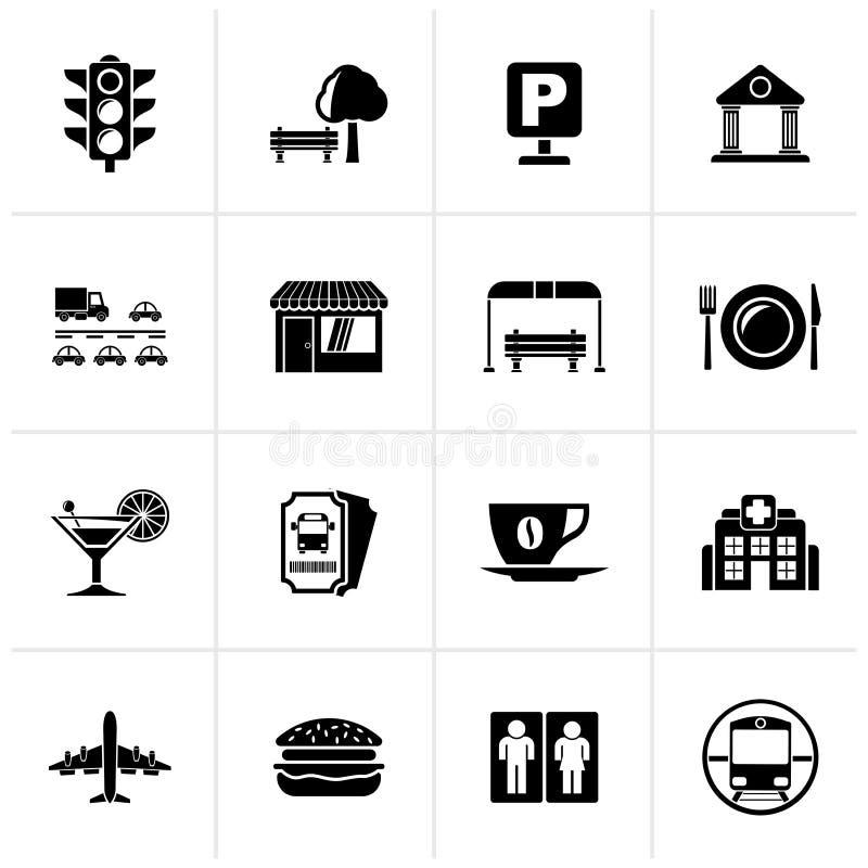 Iconos urbanos y de la ciudad negros de los elementos stock de ilustración
