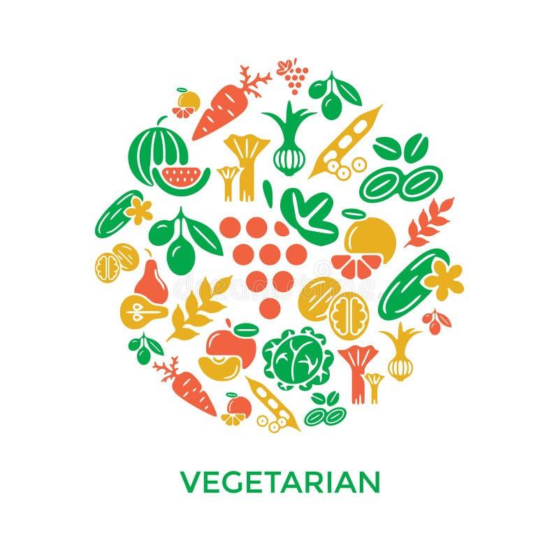 Iconos vegetales amarillos rojos verdes de Digitaces stock de ilustración