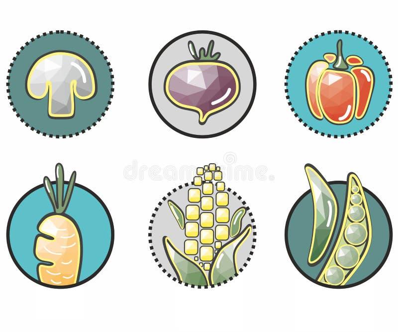 iconos vegetales originales en el círculo: maíz, seta, remolachas, pimientas, zanahorias, guisante libre illustration