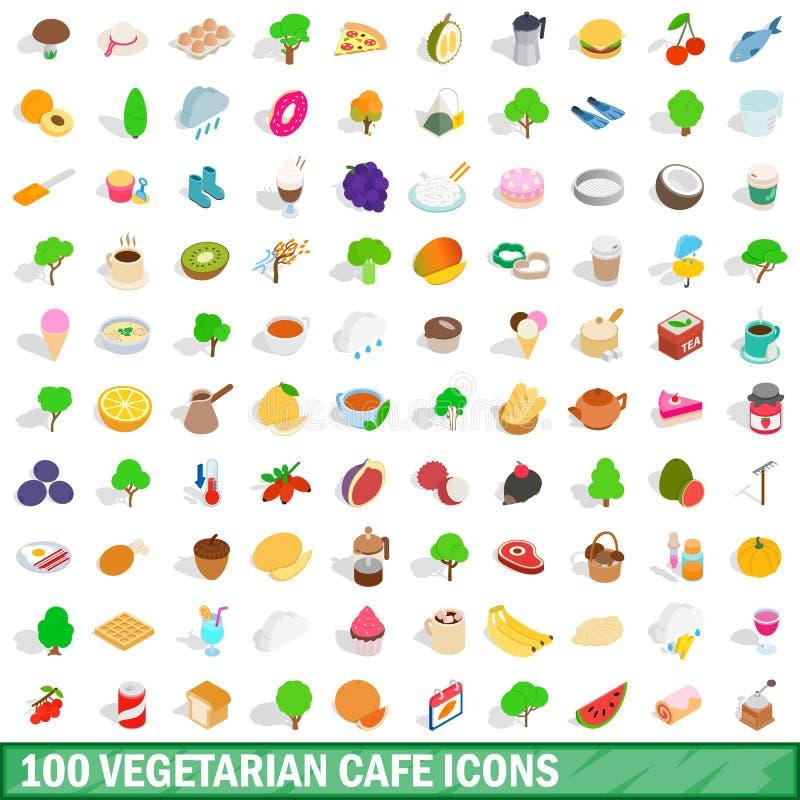100 iconos vegetarianos del café fijaron, el estilo isométrico 3d libre illustration