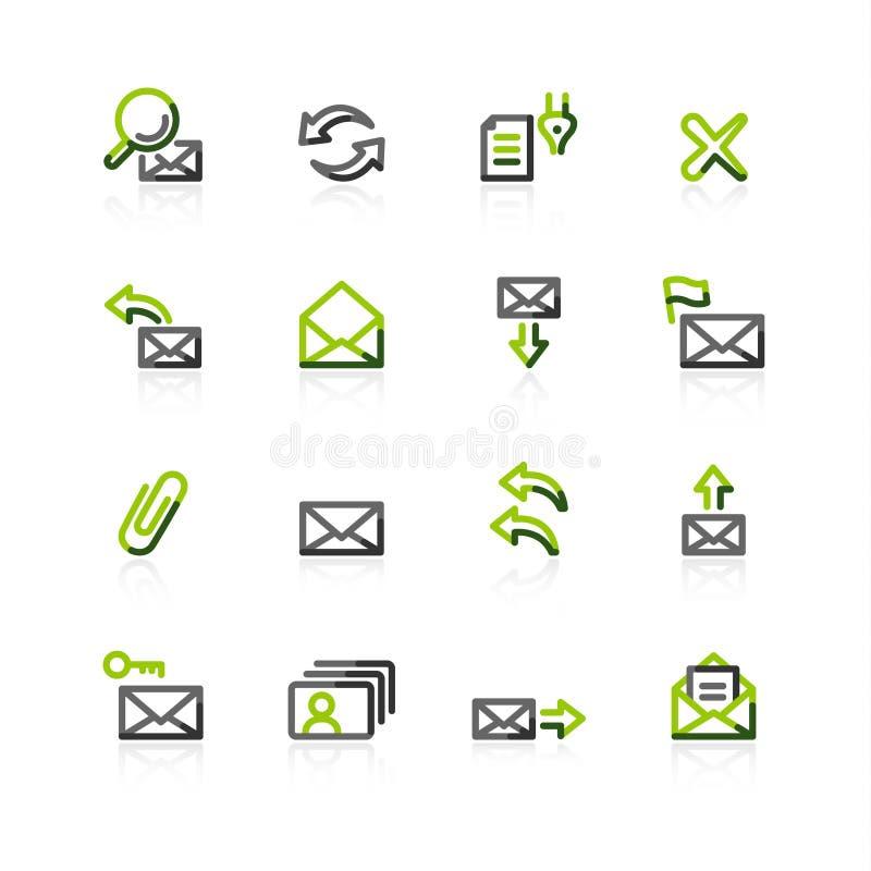 iconos Verde-grises del email ilustración del vector