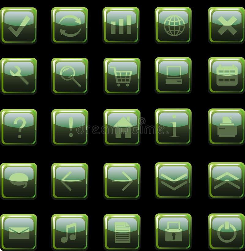 Iconos verde oscuro del Web, botones stock de ilustración