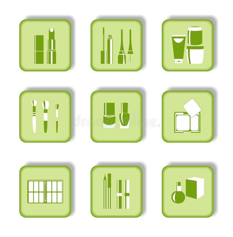 Iconos verdes cosméticos para el diseño de Web stock de ilustración