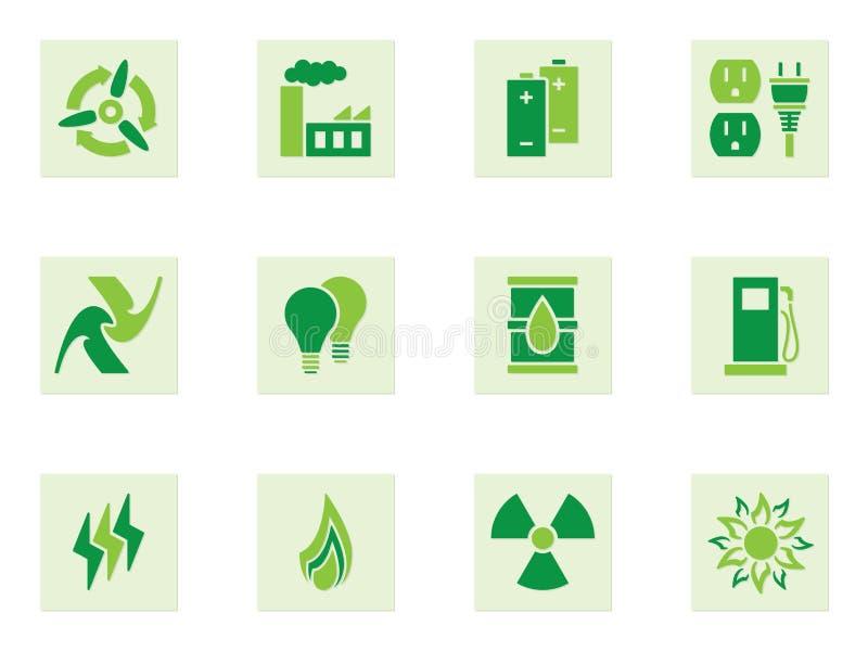Iconos verdes de la energía stock de ilustración