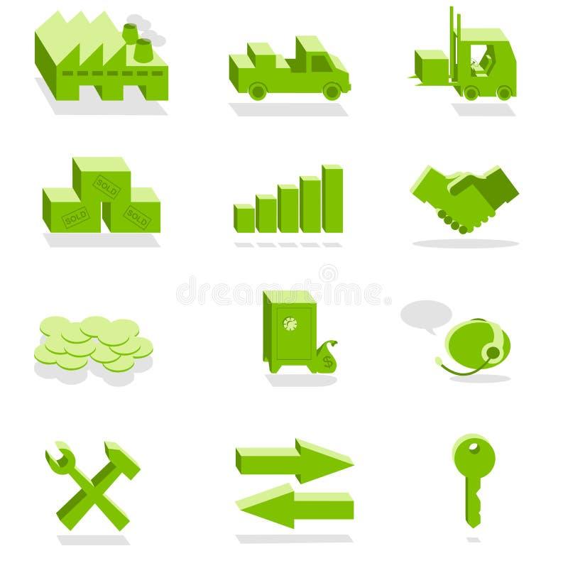 Iconos verdes de las finanzas y de la industria libre illustration