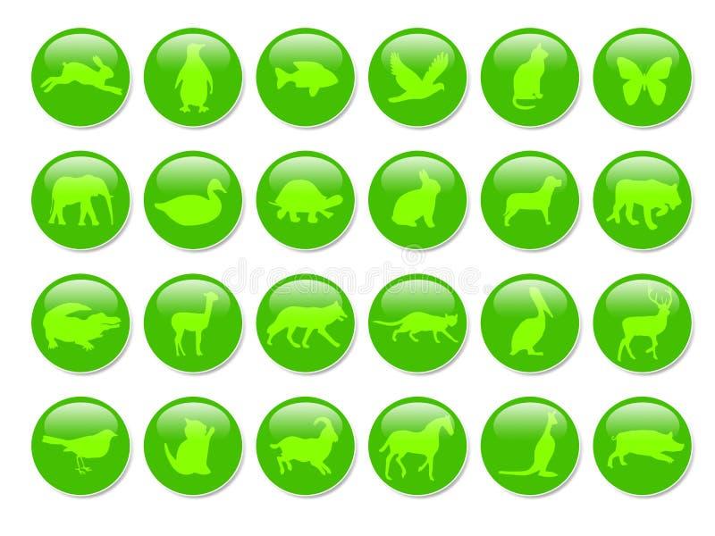 Iconos verdes de los animales ilustración del vector