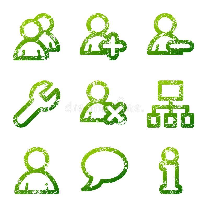 Iconos verdes de los utilizadores del grunge libre illustration