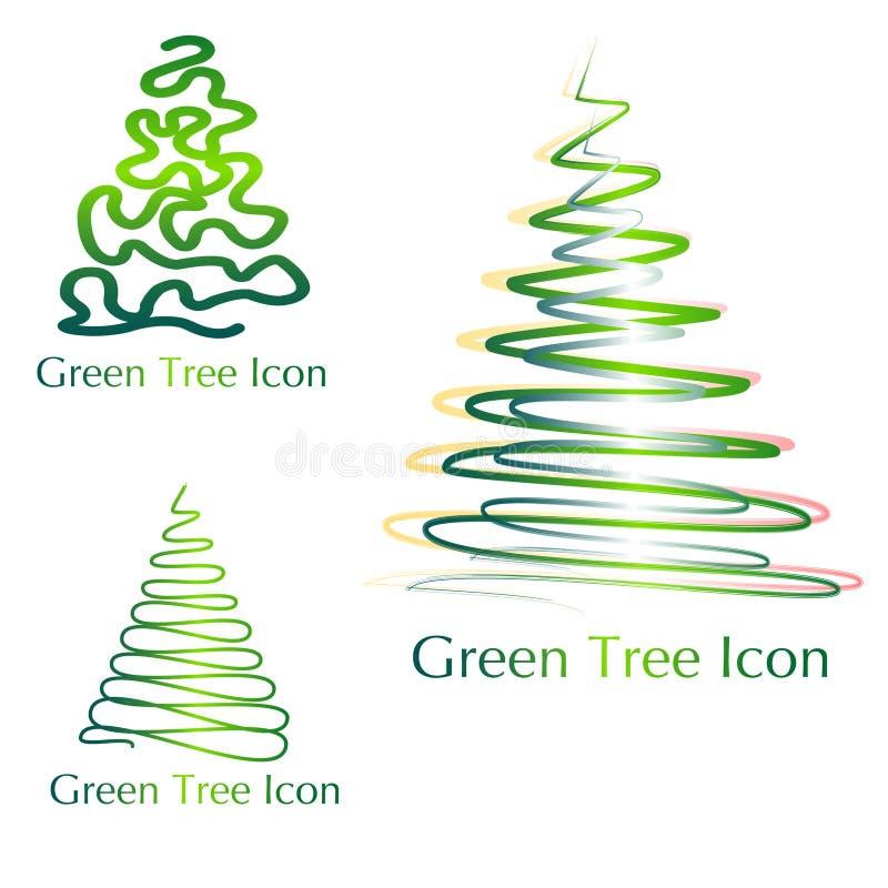 Iconos verdes del árbol ilustración del vector