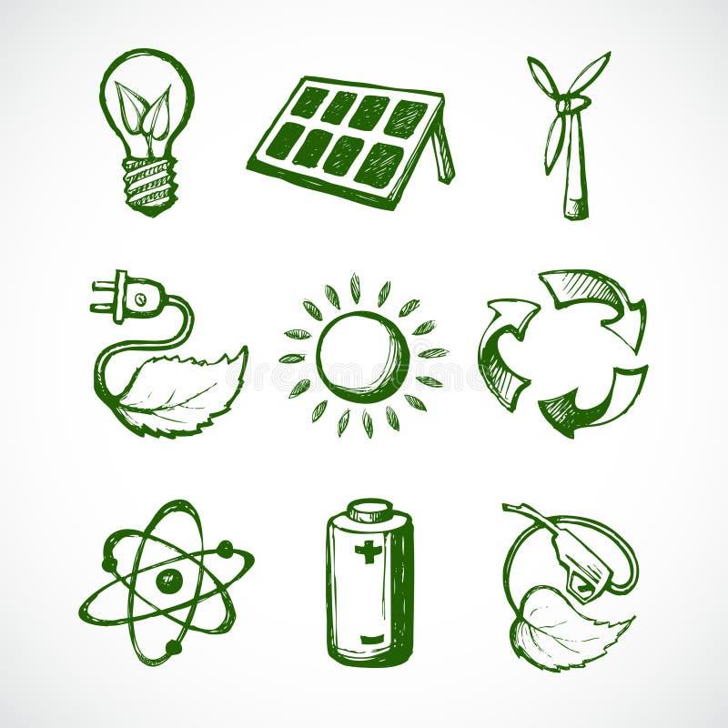Iconos verdes del bosquejo de la energía ilustración del vector