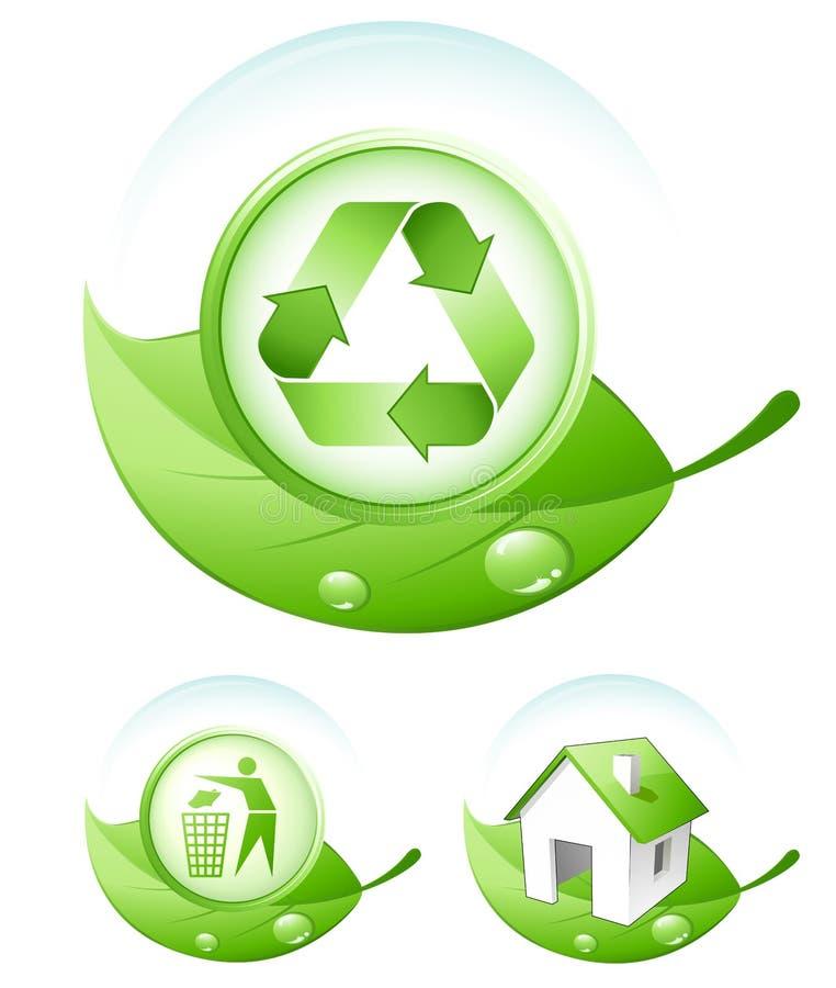 Iconos verdes del concepto libre illustration