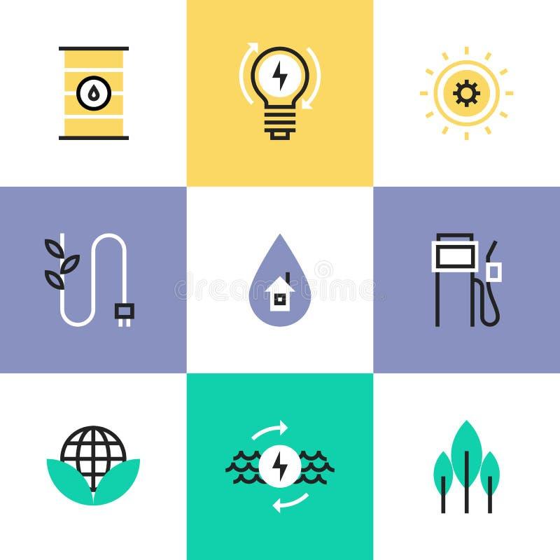 Iconos verdes del pictograma de la energía y de la electricidad fijados stock de ilustración