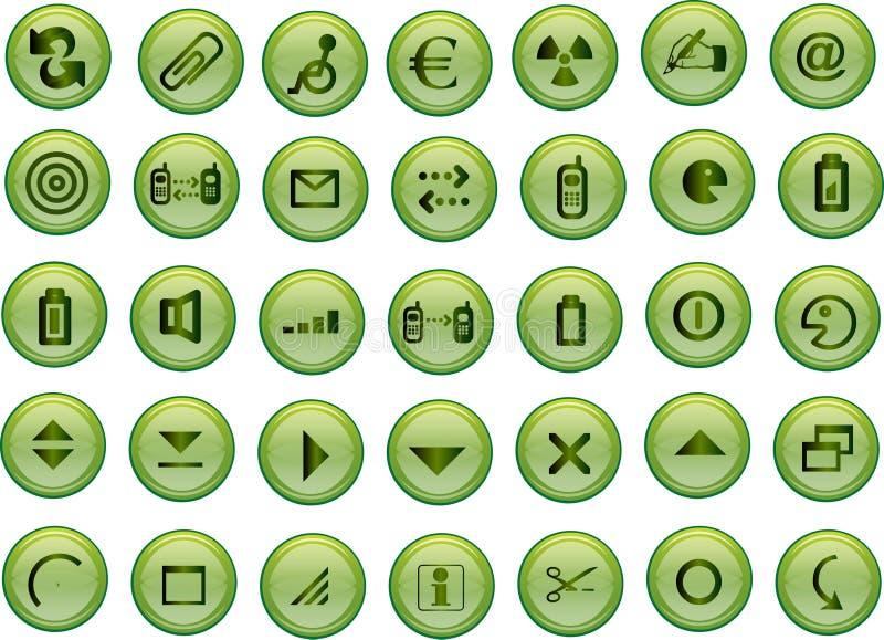 Iconos verdes del vector ilustración del vector