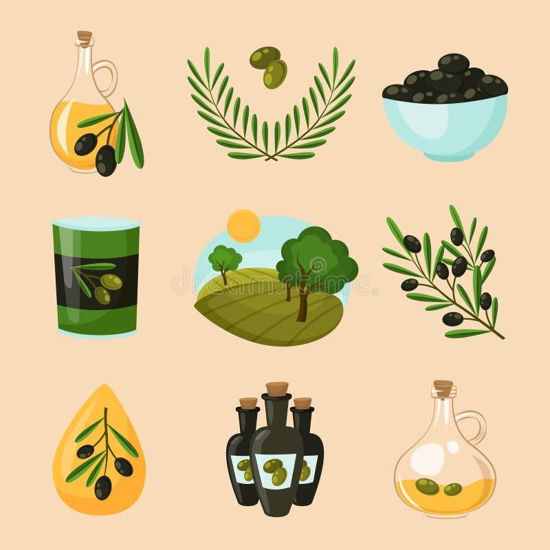Iconos verdes olivas fijados ilustración del vector