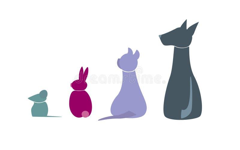 Iconos veterinarios de animales domésticos ilustración del vector