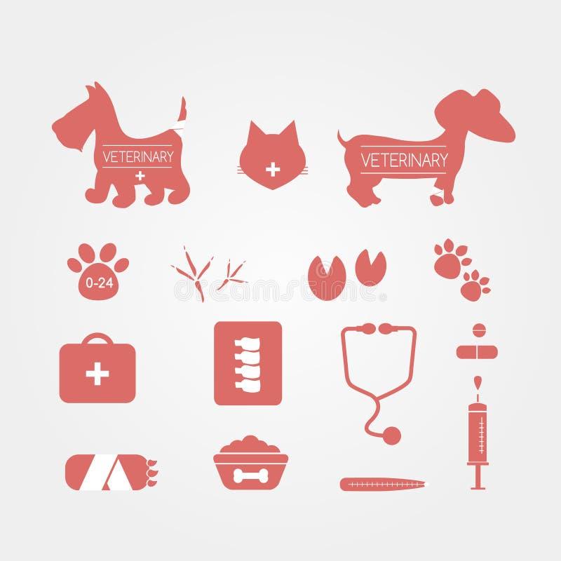 Iconos veterinarios de los animales domésticos fijados Emblemas de la medicina Ilustración del vector stock de ilustración