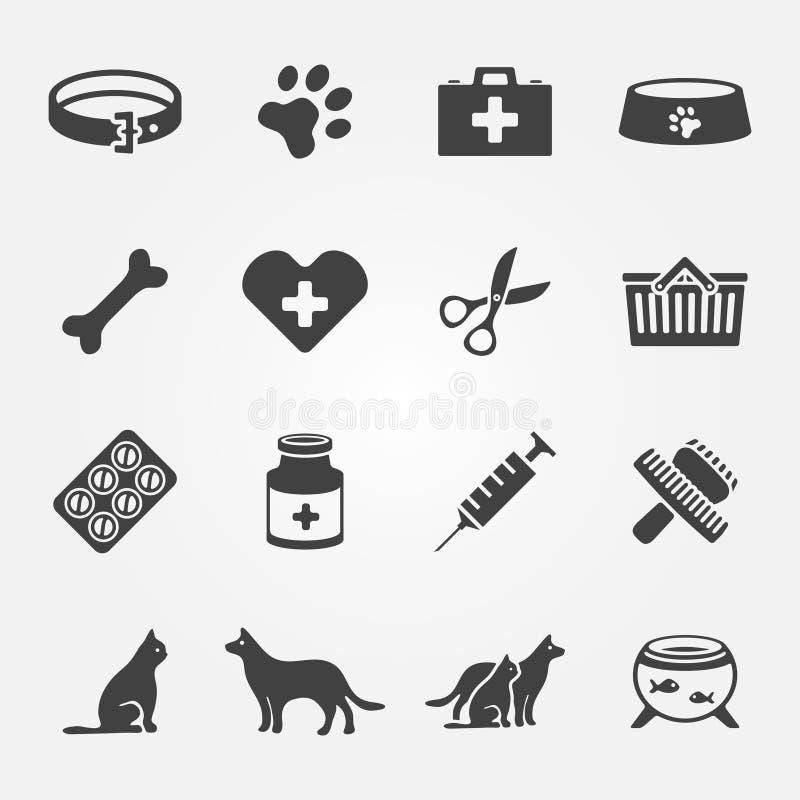 Iconos veterinarios del vector del animal doméstico fijados stock de ilustración